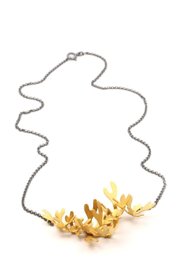 Seaweed - Förgyllt halsband i silver