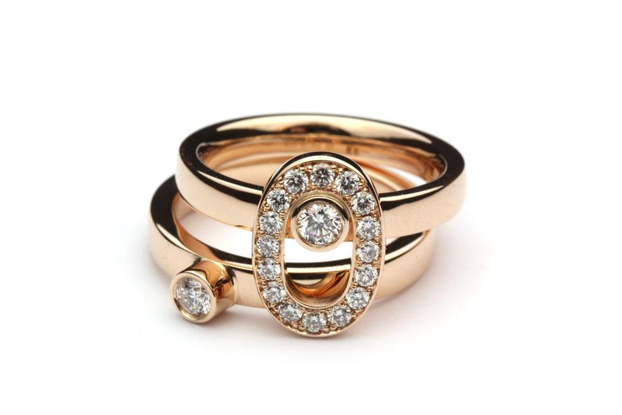 Ringar av roséguld med diamanter - Erik Tidäng