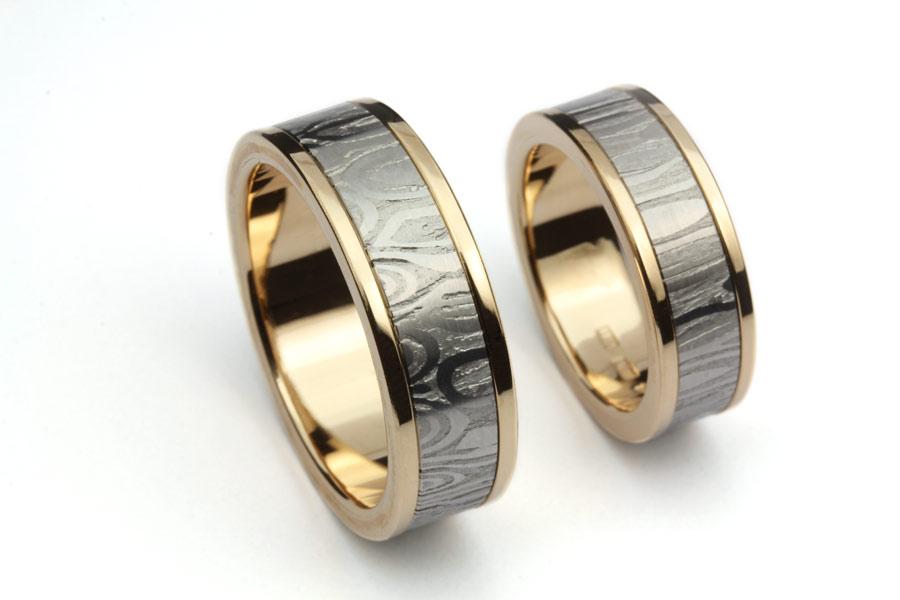 Vigselringar av guld och damasteel - Erik Tidäng