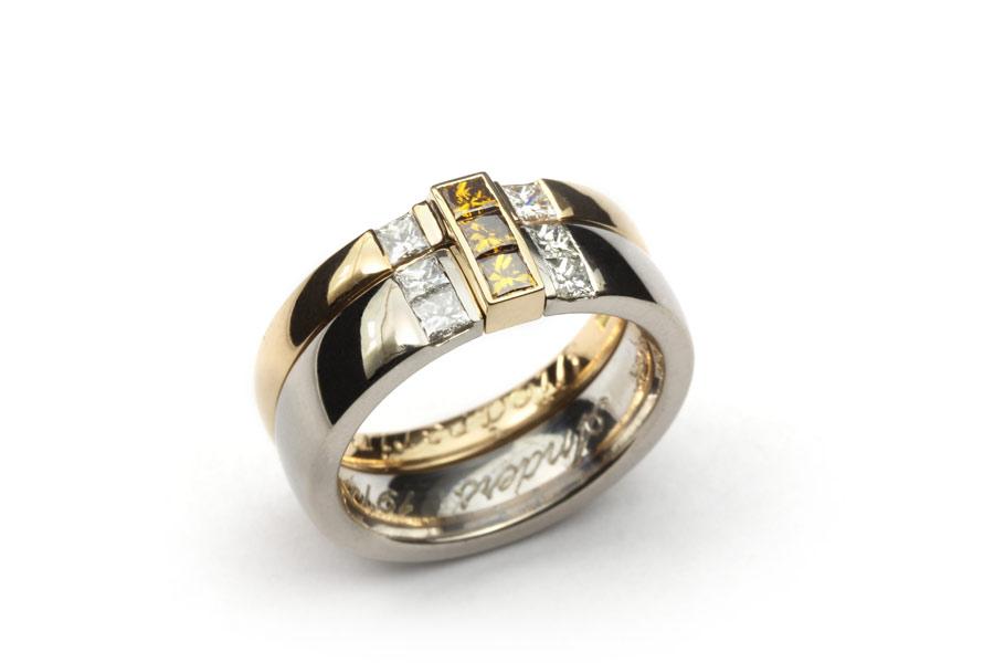 Vigselring med princesslipade diamanter - Erik TIdäng